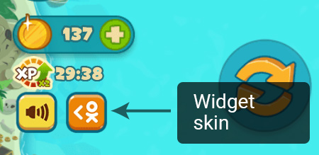 "An example of mobile widget's skin from ""Sea Battle"" game, image"""